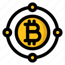 bitcoin, cryptocurrency, network, system, world icon