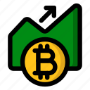 bitcoin, cryptocurrency, exchange, growth, rate, trading icon