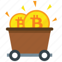 bitcoin, cryptocurrency, digital money, mine, mining icon