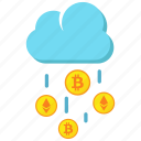 cloud, coins, computing, cryptocurrency, digital money icon