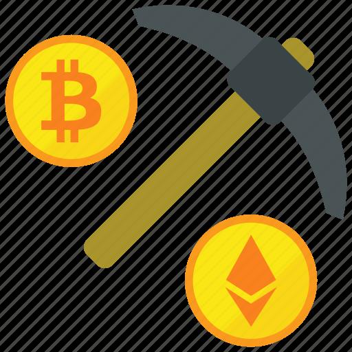 coin, mine, mining, pickaxe icon