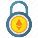 digital money, ethereum, lock, padlock icon