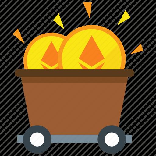 cryptocurrency, ethereum, mine, mining icon