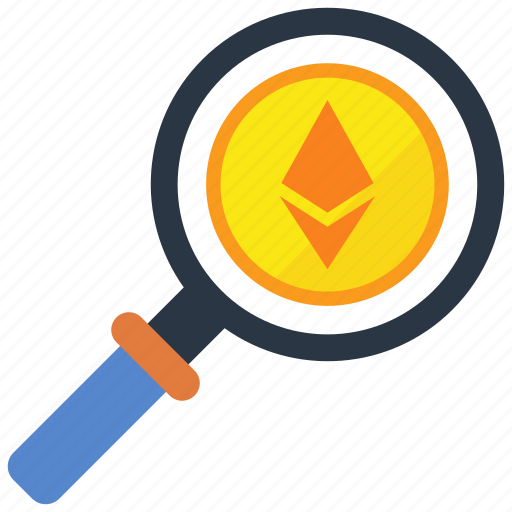 digital money, ethereum, mining, search icon
