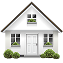 bushes, door, home, house, parcel icon