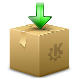 ark, arrow, box, download, dropbox, kde, package icon