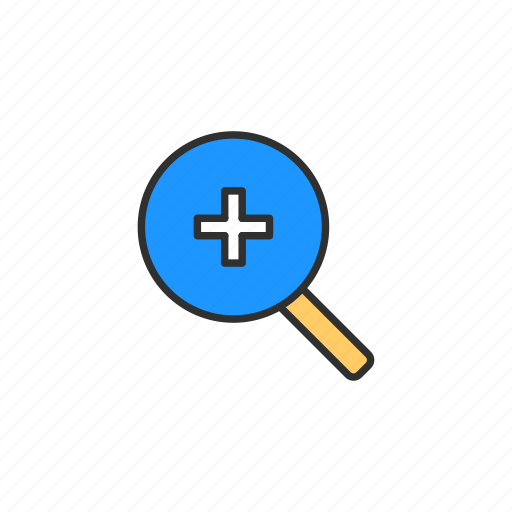 browser, magnifying glass, plus, zoom, zoom in icon