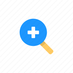 magnifying glass, plus, zoom, zoom in icon