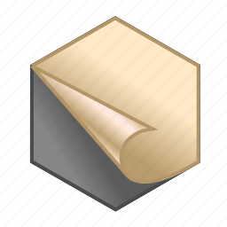cube, hex, hexagonal, page, stick, sticker, they stick out icon