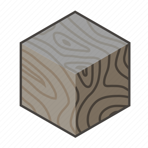 block, cube, dark, ebony, timber, timbered, wood icon