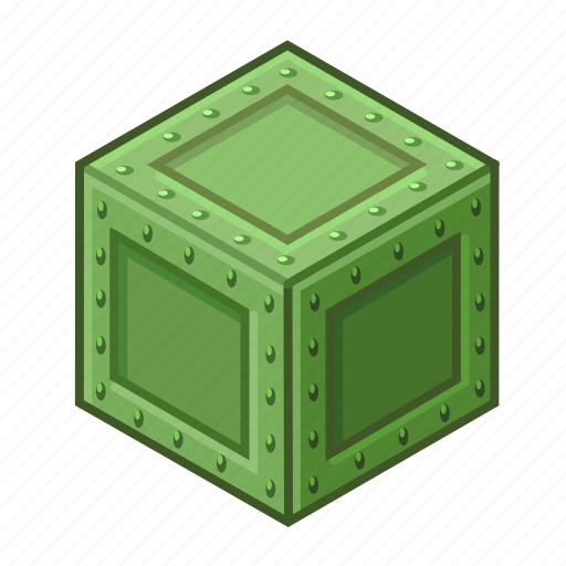 ammunition, box, chest, container, green, metal, military icon
