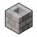 bricklayer, chimney, gray, hollow, hollowblock, stack, stonemason icon