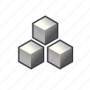 block, cube, item, many, pack, parcel, three icon