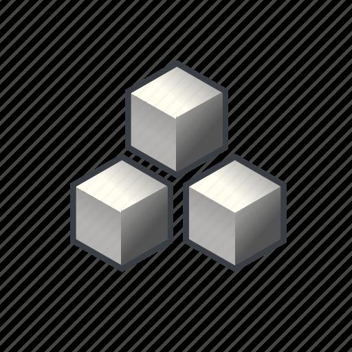 block, cube, item, many, pack, parcel, three icon