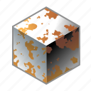 box, cube, metal, mildew, oxidation, rust, rusty icon