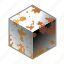 box, cube, metal, mildew, oxidation, rust, rusty icon
