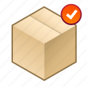 accepted, added, box, cube, pack, parcel, shipment icon