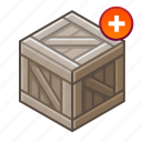 +, add, box, cube, hutch, plus, wooden icon