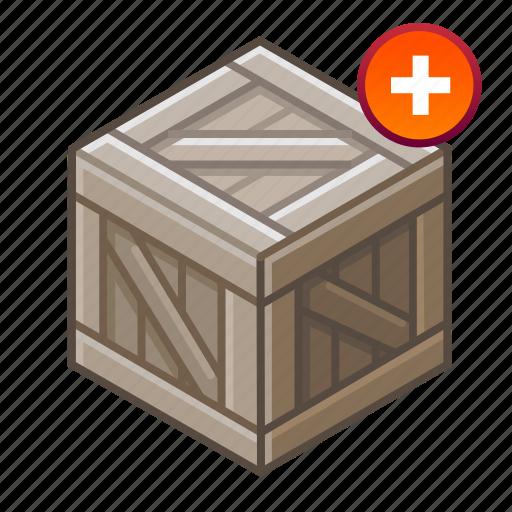 +, add, box, cube, hutch, plus, wooden icon