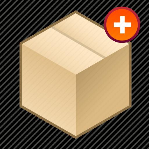 +, added, box, cube, parcel, plus, shipment icon