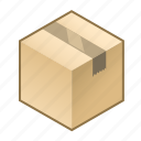 box, boxed, cube, parcel, sealed parcel, tape, taped icon