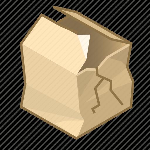 box, cube, damaged, destroy, item, shipment, spoiled icon