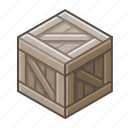 bin, box, coffer, cube, dark, locker, wooden icon