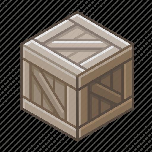 bin, box, coffer, cube, dark, locker, wooden icon
