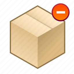 -, box, consignment, cube, deducted, minus, parcel icon
