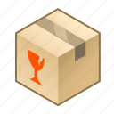 box, cube, delicate, fragile, glass, pack, parcel icon