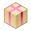 box, cube, gift, pack, package, packing, pink icon