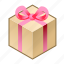 bow, box, cube, gift, pack, pink, with icon