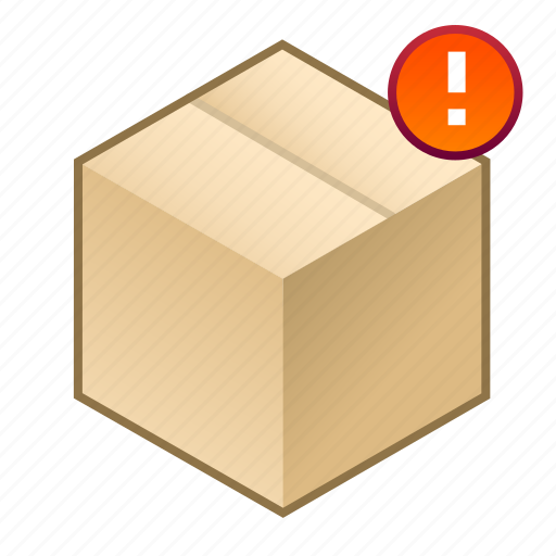 !, box, cube, exclamation mark, important, parcel, shipment icon