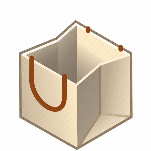bag, box, cube, handles, paper, shopping, with icon