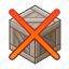 bin, box, cube, poodle, removed, wooden, x icon