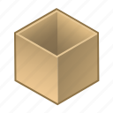 box, cardboard, cube, inside, open, parcel, wooden icon