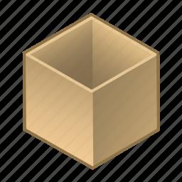 box, cardboard, cube, inside, open, parcel, wooden icon
