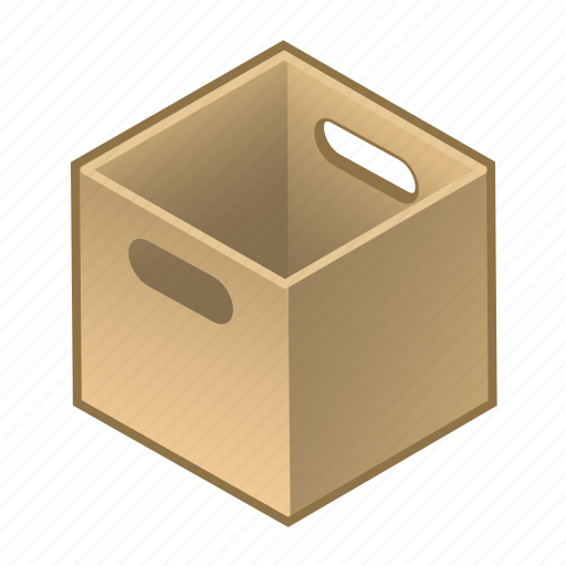 box, carry, cube, handles, parcel, with, wooden icon