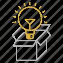 bulb, creative, idea, optimization, package, seo icon
