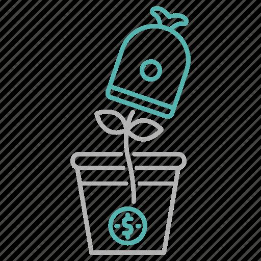 cash, investment, optimization, plant, return, seo icon