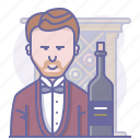 bottle, cabinet, culinarium, restaurant, sommelier, waiter, wine icon