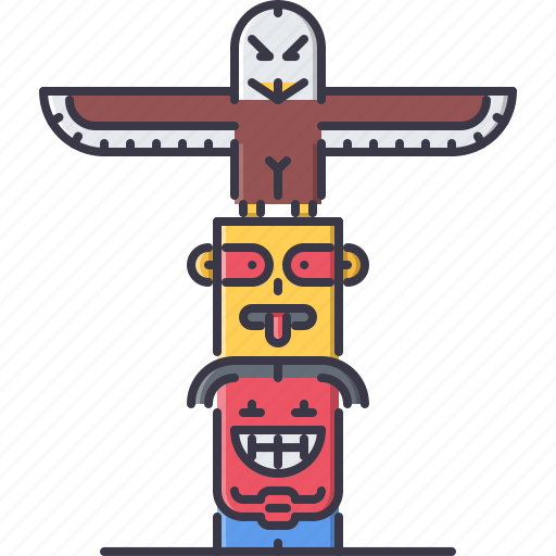 civilization, country, culture, indian, pole, totem icon