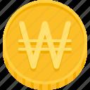 korea won, won, coin, money, currency