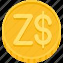 money, zimbabwe dollar, coin, dollar, currency