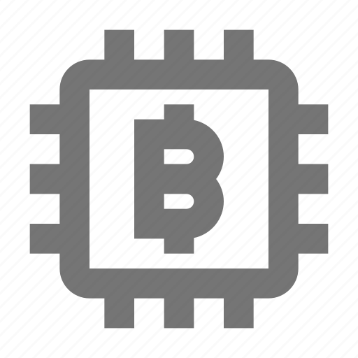 bitcoin, computer chip icon