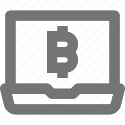 bitcoin, coin, currency, finance, laptop, notebook, stock, virtual icon