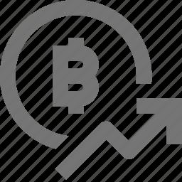 arrow, bitcoin, finance, increase, rising, stock, up icon