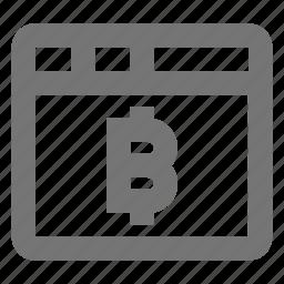 bitcoin, coin, finance, internet, stock, tab, virtual, window icon