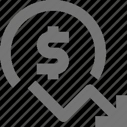 currency, decrease, decreasing, dollar, money icon