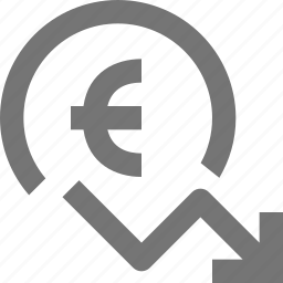 arrow, currency, decrease, decreasing, euro, money icon